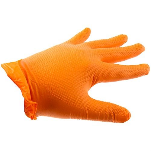 Orange Nitrile Heavy Duty Gloves-Large