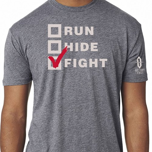 Run, Hide, Fight! TShirt Premium Heather Lg