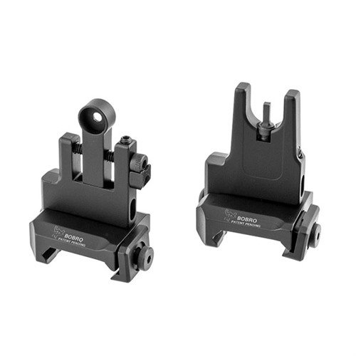 AR-15 Flip-Up Low Profile LowRider BUIS Sight Set Black