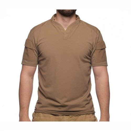 Boss Rugby Shirt Short Sleeve Coyote Brown Med