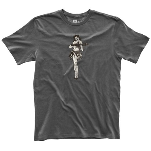 Men's Fine Cotton Hula Girl T-Shirt New Charcoal Medium